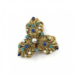 Vintage 1930's Trefoil Brooch Gold Plated